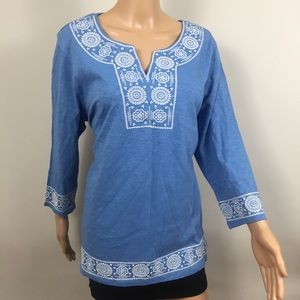 🆕 Charter Club Blue Peasant Embroidered Blouse